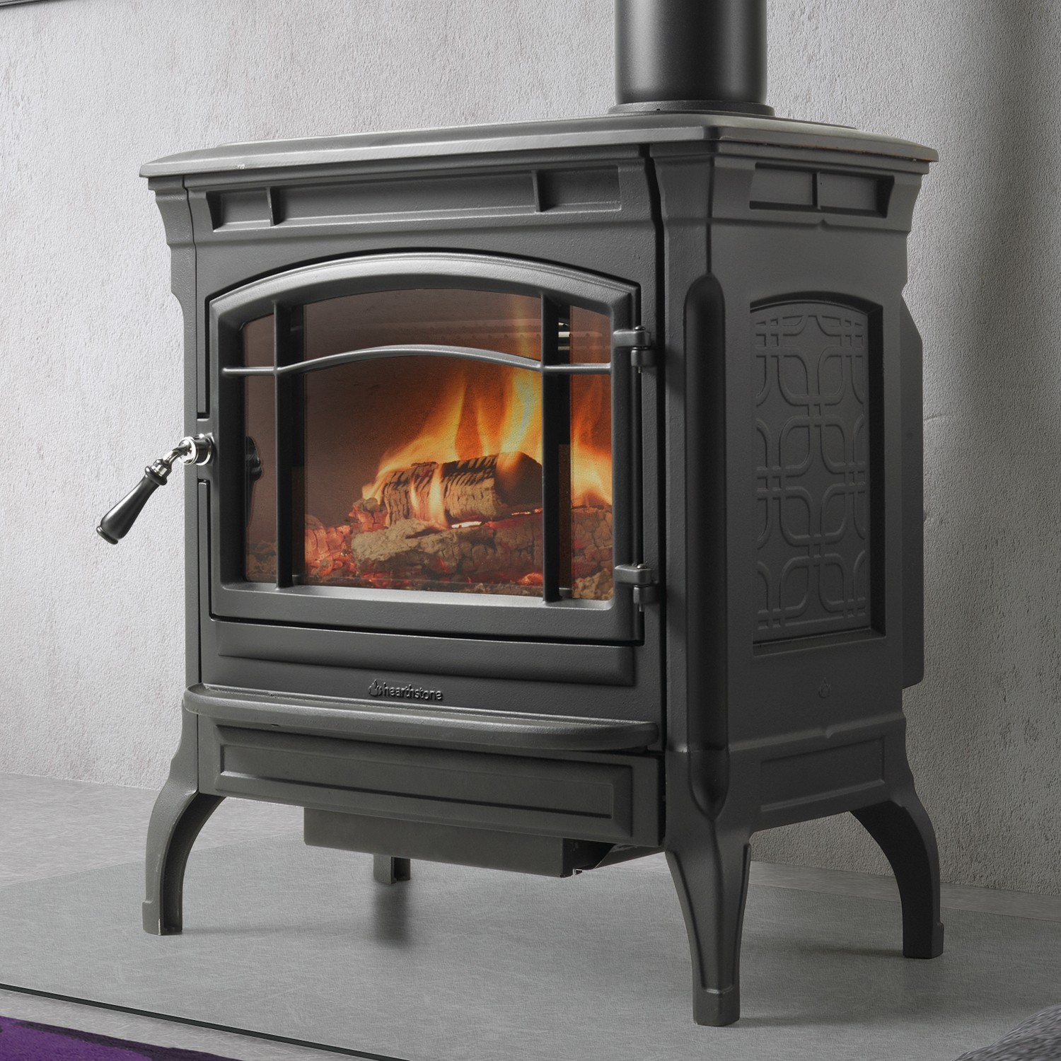 Hearthstone Shelburne wood stove is a cast-iron attractive mid-size performer.  Often competes with the Jotul Castine.  Soapstone lined.