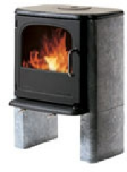 Morso 3450 soapstone sided cast iron woodstove.  Scandinavian styling in a beautiful mid-size stove.  Made in Denmark