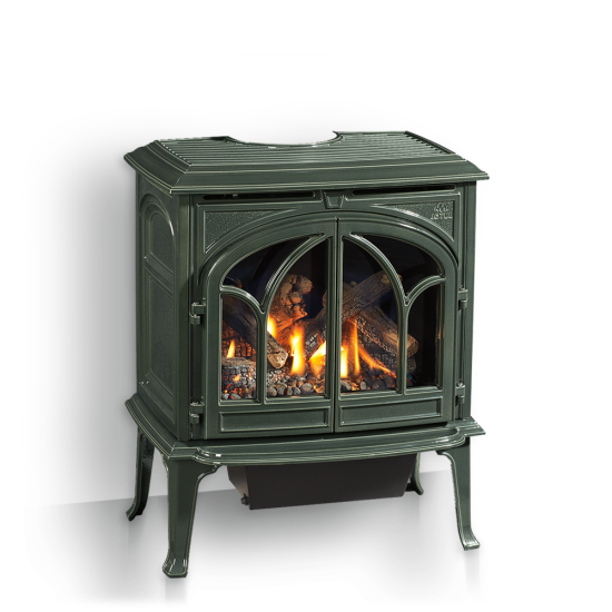 Jotul's GF300DV IPI Allagash is an amazingly flexible gas stove. Start with a fuel saving IPI Proflame II ignition system, Jotul's pan style burner, add classic cast styling, a standard new 6-piece hand crafted log set and many upgradable options and you'll see why it's Jotul's best selling gas stove.