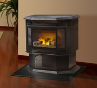 Quadrafire Classic Bay 1200 pellet stove. At 47,000 BTUs, this healthy sized pellet heater is right for many mid to larger homes.  Proven design.  Thermostatic operation.