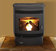 Quadrafire Santa Fe pellet stove offer 34,000 BTUs and thermostatic control in a modern styling.  Log set optional.