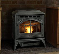 Quadrafire Castile pellet stove. 34,000 BTUs and beautiful cast iron exterior.  Thermostatic control and proven technology in a high quality design.