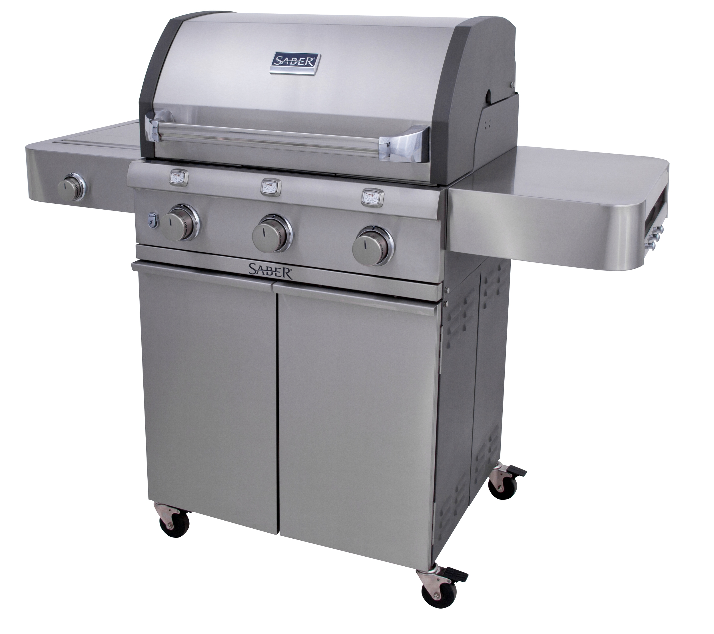 Saber R50CC0312    This full-sized grill is a great value, loaded with features that make  outdoor cooking easier, with better tasting results. Plus a side burner  for warming side dishes and sauces.                               Standard Features   · The SABER patented infrared cooking system for superior grilling performance:    --IR across entire cooking surface.    --Even temperatures,    --no flare-ups, and    --30% less propane consumption.  · All 304 stainless steel (commercial kitchen grade), nonmagnetic  · Strong, stable, durable construction with welded tubular cart and firebox frames  · Shelves bolted to a tube frame provide solid work surfaces  · 304 stainless steel burners, grate system and emitters  · 3 Independent cooking zones. Use one, two or all 3. · Front access grease tray for easy cleaning  · Simple cleanup: just burn off and brush away food debris  · Safe, easy natural gas conversion with SABER's exclusive EZNG technology  · Fast assembly with 26 common fasteners  · SABER grate cleaning tool included    Special Features   · 675 total square inches of cooking area (500 primary, 175 secondary)  · 34,000 total BTUs  · Enclosed cart with heavy duty 304 stainless side shelves  · 304 stainless steel lid with die-cast end caps  · Three 304 stainless steel tube burners (24,000 total BTUs, including 10,000 for side burner)  · Single die-cast side burner with cast brass cap  · Push button electronic ignition at each burner for reliable start-up every time  · Adjustable porcelain warming rack with storage and roasting positions  · Heavy duty 3-inch locking casters