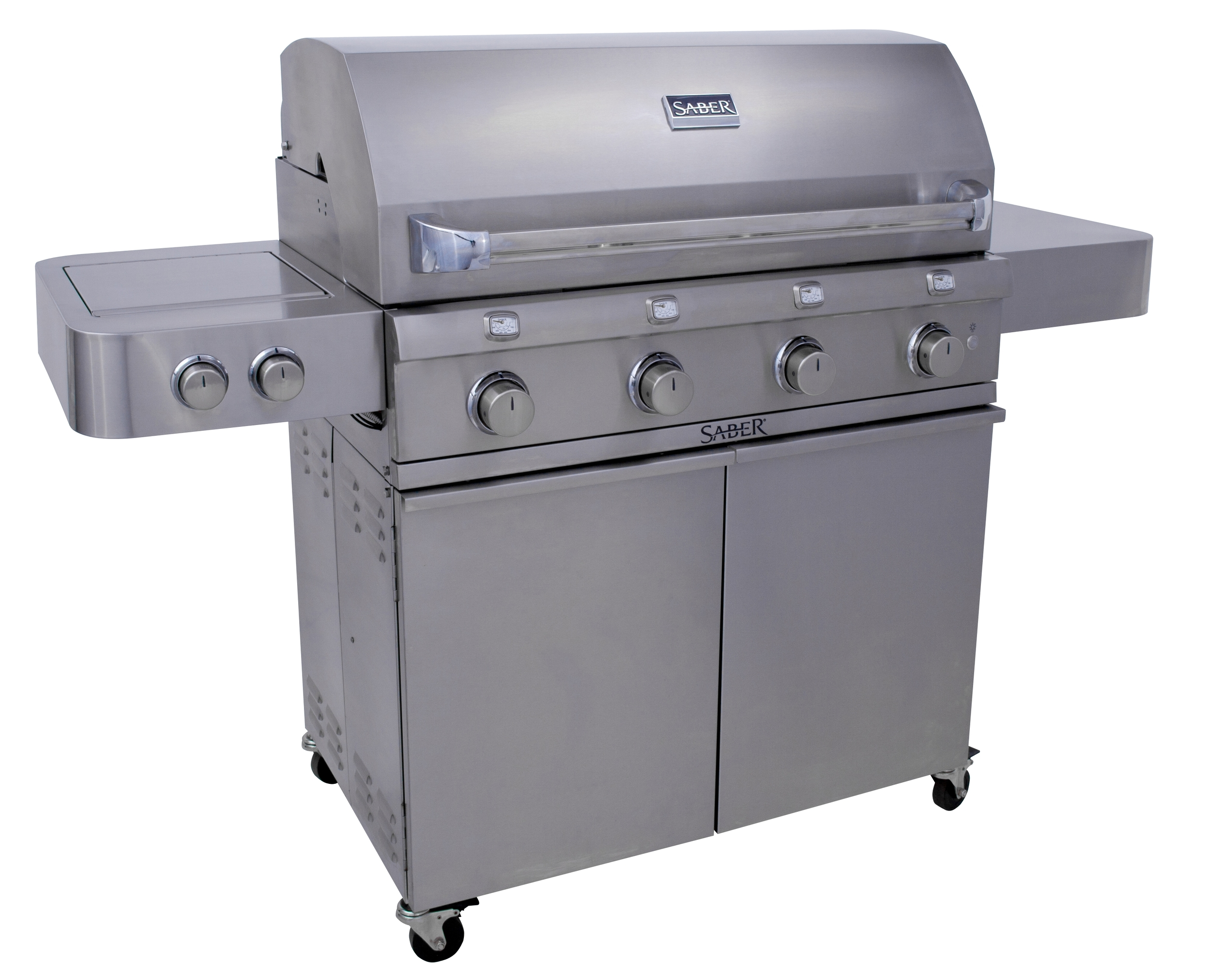 Saber R67SC0012   If you love to cook for a crowd, our largest SABER freestanding grill  has the capacity and extra features to make entertaining a breeze. 4  cooking zones allow you to adjust the cooking surface size to match the  number of people you are cooking for. The dual tube side burner expands  your options to include frying, boiling and cooking with a wok or  skillet.      Standard Features    · The  SABER patented infrared cooking system for superior grilling  performance: IR across entire cooking surface, even temperatures, no  flare-ups, 30% less propane consumption.  learn more   · All 304 stainless steel (commercial kitchen grade), nonmagnetic   · Strong, stable, durable construction with welded tubular cart and firebox frames   · Shelves bolted to a tube frame provide solid work surfaces   · 304 stainless steel burners, grate system and emitters   · 4 cooking zones for just the right amount of cooking space. Use one, two, three or all 4 zones.      --Saves gas by only heating the space you need for the meal you're cooking. · Front access grease tray for easy cleaning  · Simple cleanup: just burn off and brush away food debris  · Safe, easy natural gas conversion with SABER's exclusive EZNG technology  · Fast assembly with 26 common fasteners  · SABER grate cleaning tool included   Special Features   · 895 total square inches of cooking area (670 primary, 225 secondary)  · Enclosed 304 stainless steel cart and heavy duty side shelves  · 304 stainless steel firebox exterior with seamless welded lid  · Grate-level temperature gauges for greater accuracy  · Four 304 stainless steel tube burners (32,000 total BTUs, including 18,000 for side burner)  · Dual tube side burner for greater versatility (perfect for boiling, frying, woks, skillets)  · Push and turn integrated electronic ignition at each burner for reliable start-up every time  · Adjustable 304 stainless steel warming rack with storage and roasting positions  · Interior halogen lights for nightti