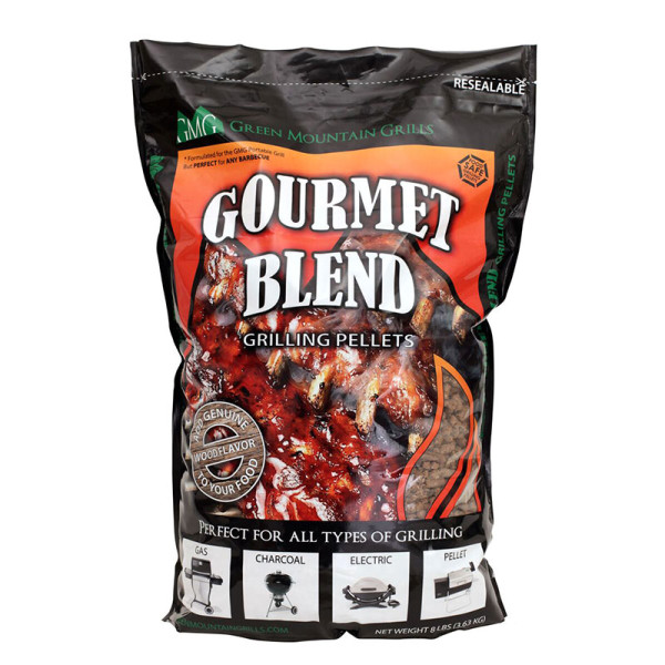 This 8-lb. stand-up resealable bag of Gourmet Blend pellets is a perfect blend of black oak, hickory, and mesquite. This bag is space-saving for camping, RV'ing, picknicking, and tailgating specifically designed for the Davy Crockett portable grill.