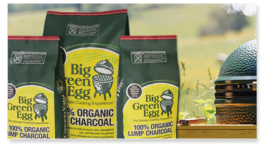 """Why natural charcoal? What's the difference?   Big Green Egg charcoal contains only 100% natural American oak and hickory """"ultra premium"""" hardwood … you will see — and taste — the difference immediately. What else would you want to cook with?  Big Green Egg 100% Natural Lump Charcoal is easy to light and is usually ready to cook in about 10 minutes. Plus, it burns hotter and more efficiently, with more BTUs, than charcoal briquettes. Our premium lump charcoal also produces less ash so there is minimal waste and clean up … delivering more value and performance in every bag.  But, most importantly, food tastes better, without harsh chemicals or odors that can be released when cooking with briquettes or other similar products. In fact, we recommend against ever using briquettes, lighter fluids or any quick-light charcoal product in a Big Green Egg.  Natural Lump Charcoal – 390011 20 lb / 9 kg bag  Natural Lump Charcoal –110503 10 lb / 4.5 kg bag  Manufactured in the USA from premium, select hardwoods  Big Green Egg Natural Lump Charcoal meets EPA environmental guidelines and is CE Certified in the European Union (EU)."""
