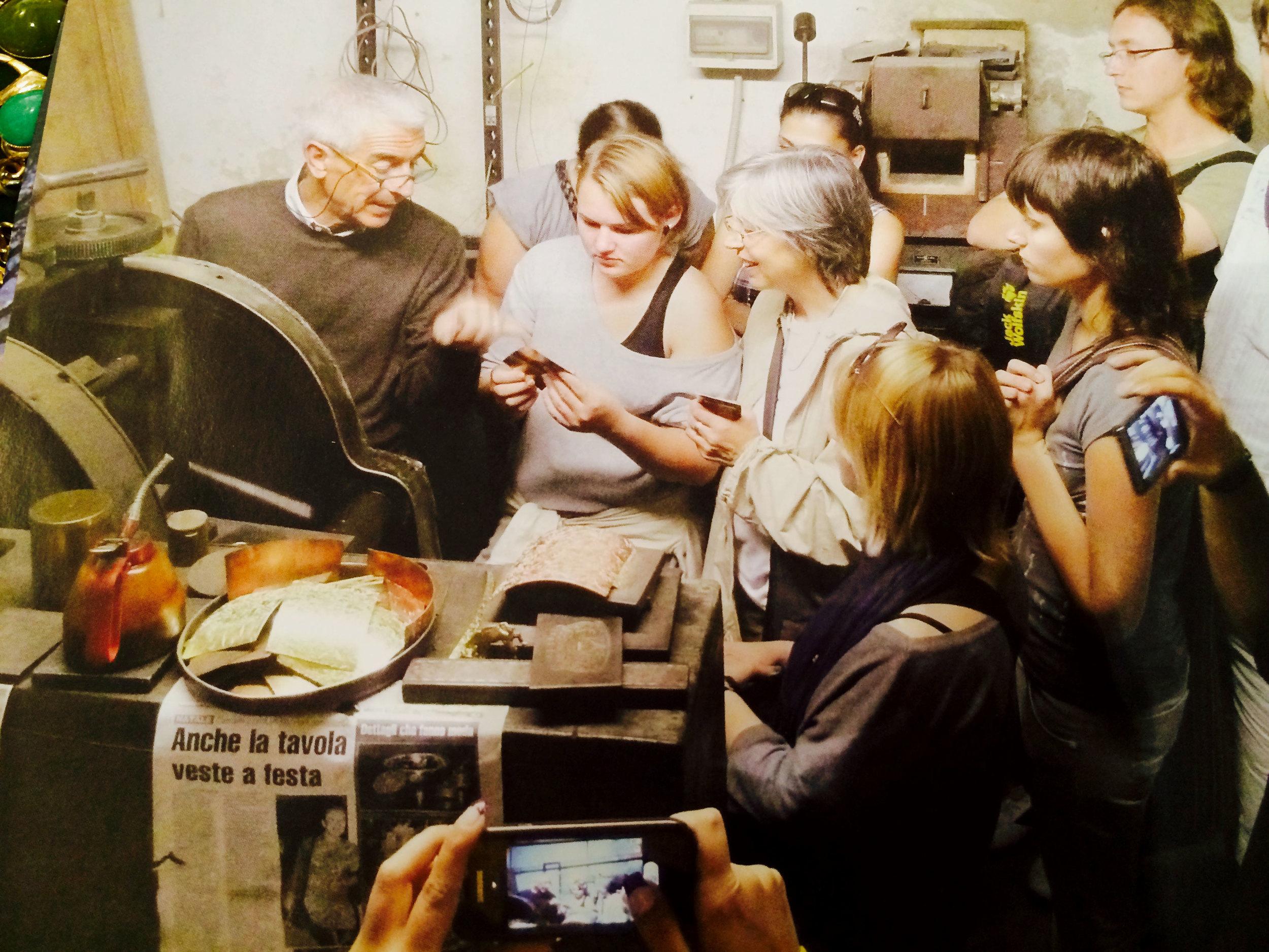 Giuliano Ricchi providing a tour of his studio in Florence.