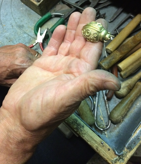 The Master's hands at work.