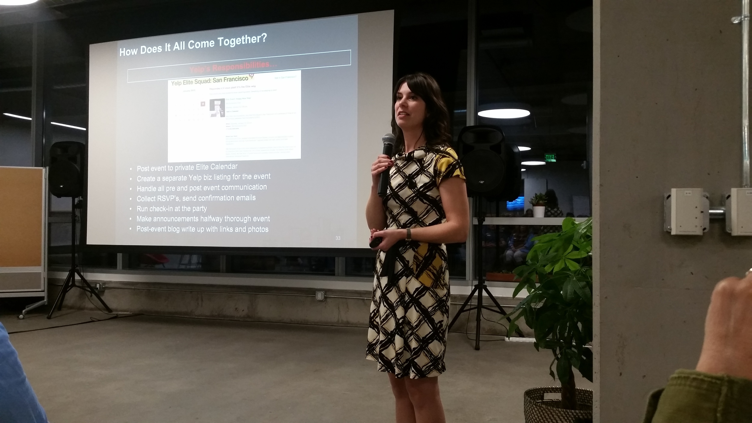 Abbie Schwarz presenting on how Yelp provides support to small businesses throwing events.