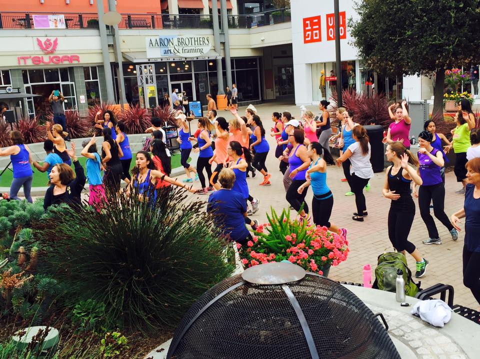 """Zumba outside in the plaza! I'm so in love with the cause called """"Dancing saved my life."""" All the proceeds sponsor women with cancer to send them to a healing retreat."""