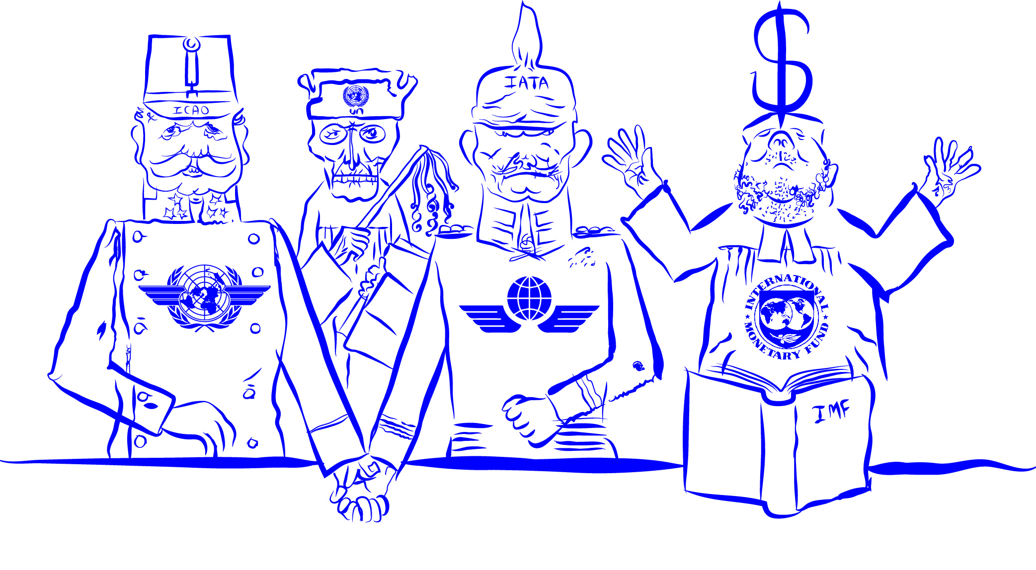 Be subject to the magisterial, a rare ritual gathering of ICAO, UN, IATA, and IMF! (For George Grosz)  (2016)