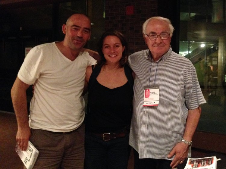 Riccardo Petrella  with artistic directors  Carlos García Estévez  and  Paige Allerton  at the  World Social Forum , Montreal 2016.