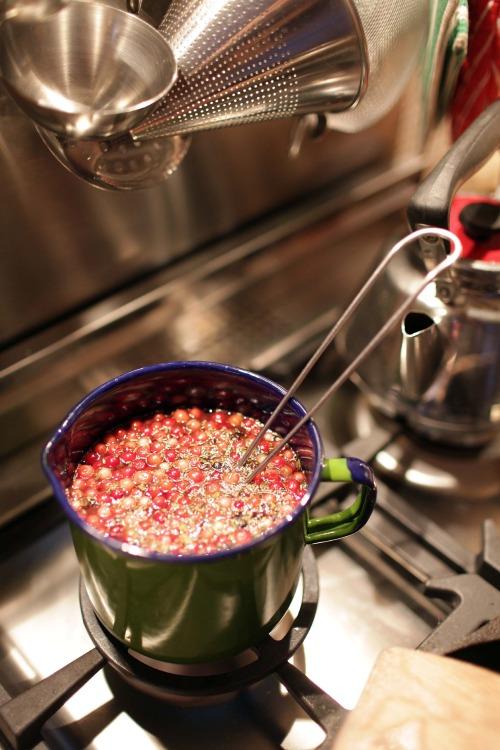 Koka upp och ihop en sås på ca 6 dl vatten, 1 näve lingon, 2 msk kalvfond, några krossade enbär, en rejäl gnutta timjan samt 2 dl rödvin. Låt koka ihop till ca 4 dl. Tillsätt sedan en gnutta socker, koka upp och sila av. Red sedan såsen med majsstärkelse.