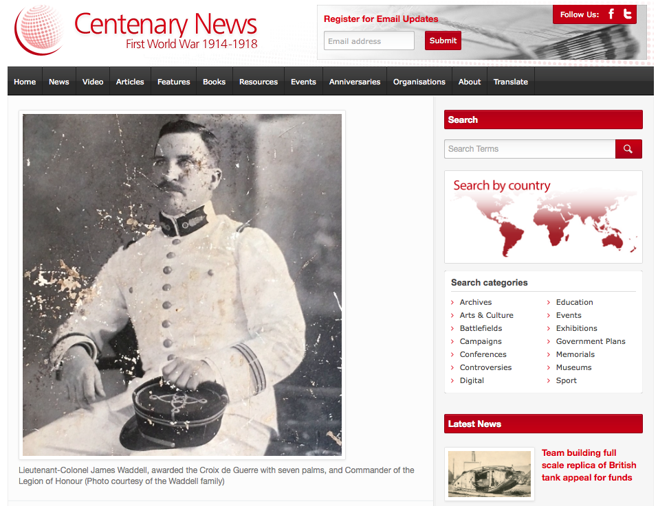 Centenary News -  UK website publishing   news and information about the First World War Centenary
