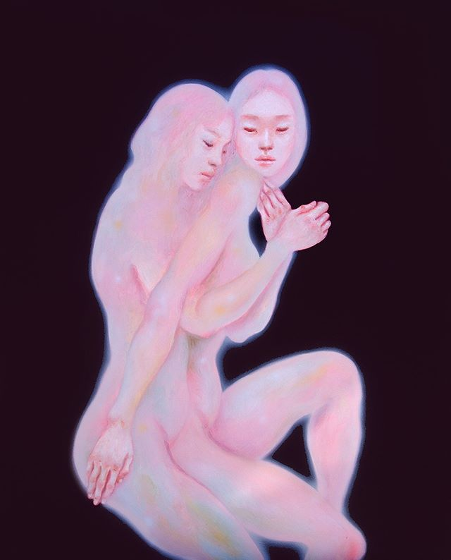 A new painting I did for a project by one of my favorite artists @divainparadise . She is releasing a zine about Astral Eroticism, and I'm on the cover! Check out her art/music and guided meditations on @dublab and #yiamelicfrequencies .  I thought I'd take this opportunity to explain my art a bit, because I am feeling the need to expand.. People often ask me why I mostly paint women.  I think artists are conduits that express the  the path that the universe needs to go. We make art to help materialize our needs and desires, as in the strength for the hunt in ancient cave paintings, a sense of the divine in works of Tibetan monks, or the need to destroy (a shit political system) in punk music.  Right now I see tons of other artists that are clearly manifesting a sort of femininity, as this world built on male aggression and stoic ideals. We desperately need a certain serenity.  It's not my conscious choice, or any other artists. We are just channeling into being, the desire of humanity, and the rest of the divine world.  I, like you, are agents of causality. (This is why artists need to be supported!)
