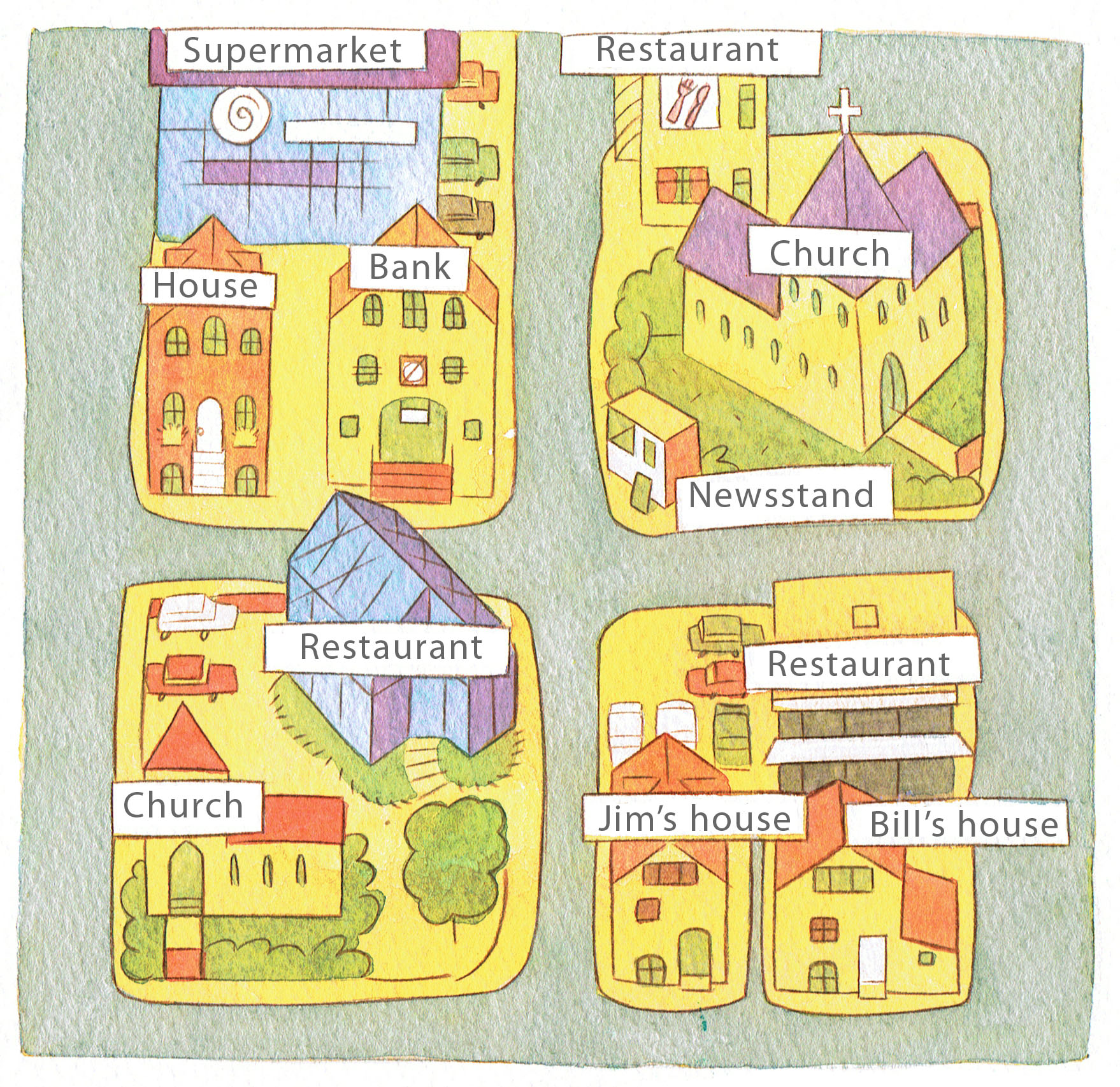 Street diagrams for English language text book