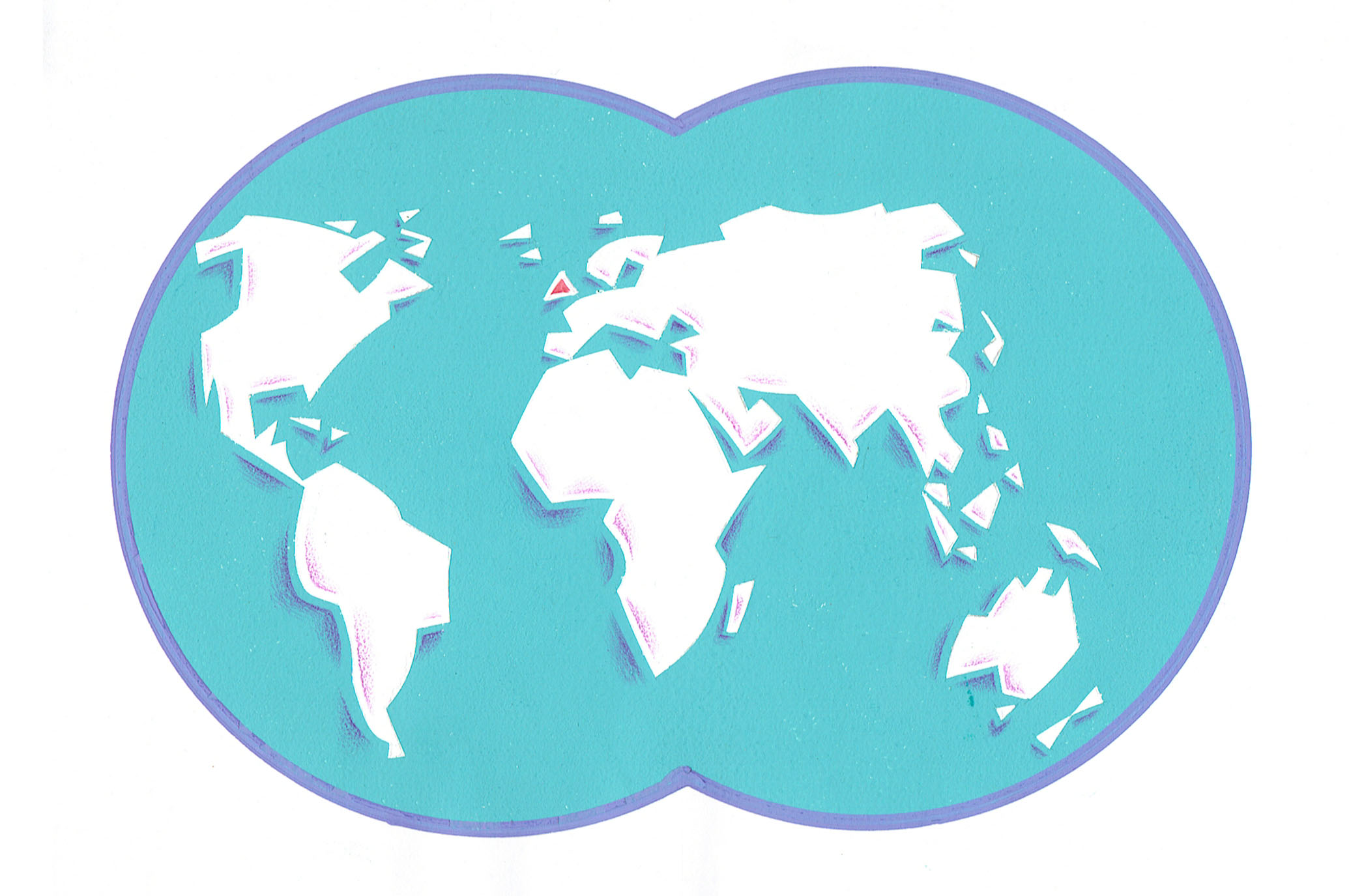 World map in gouache for a brochure