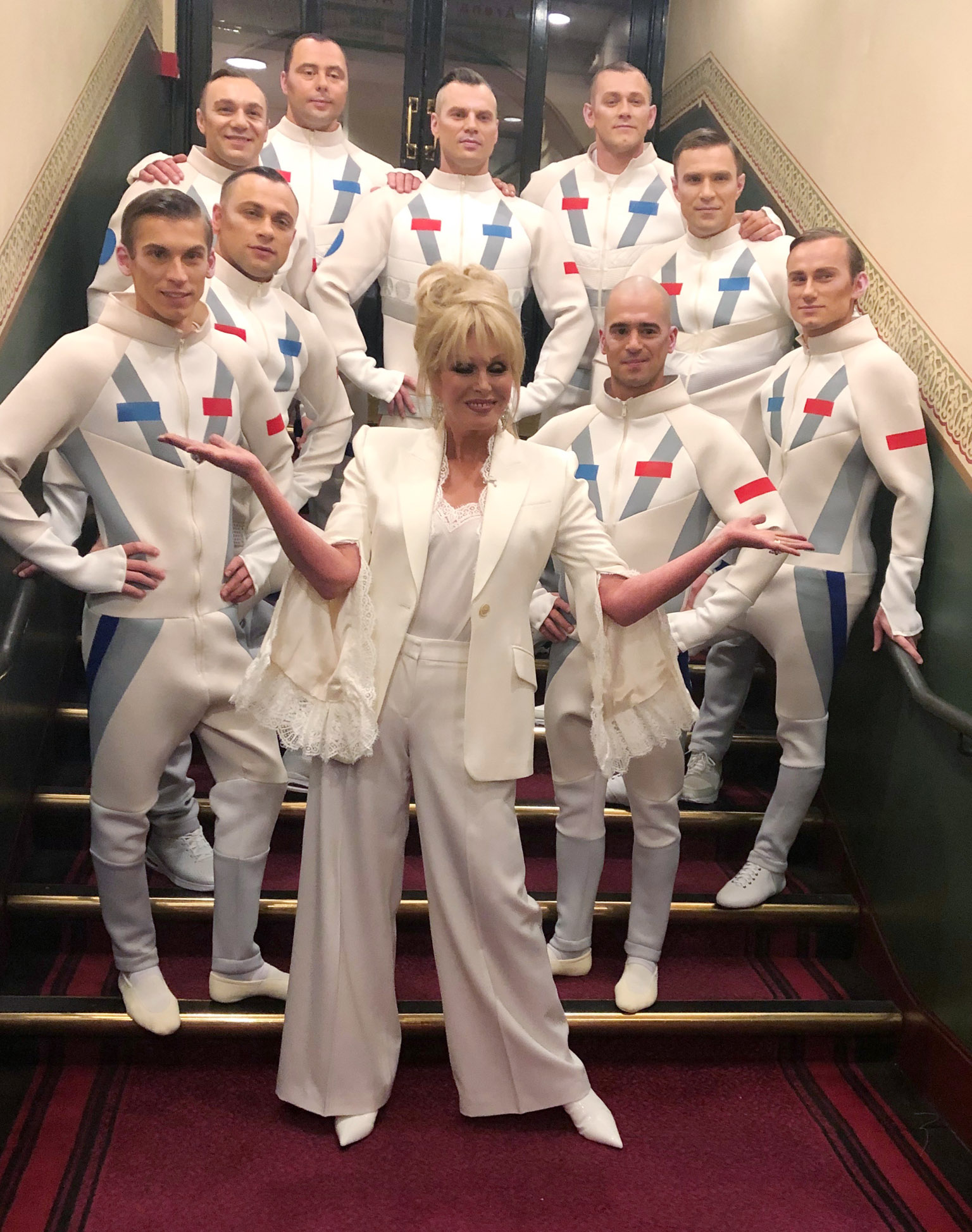 Joanna Lumley & Cirque du Soleil backstage at the Royal Albert Hall. Pic: Zoe Stevens