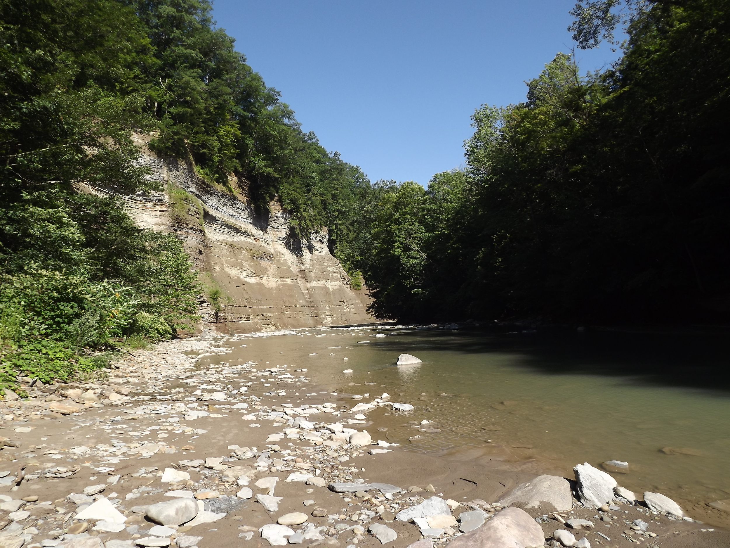 Southbranch Cliff -  When you first reach the streambed of the South Branch of the Cattaraugus, you are greeted by an imposing cliff that is a good sign of things to come.