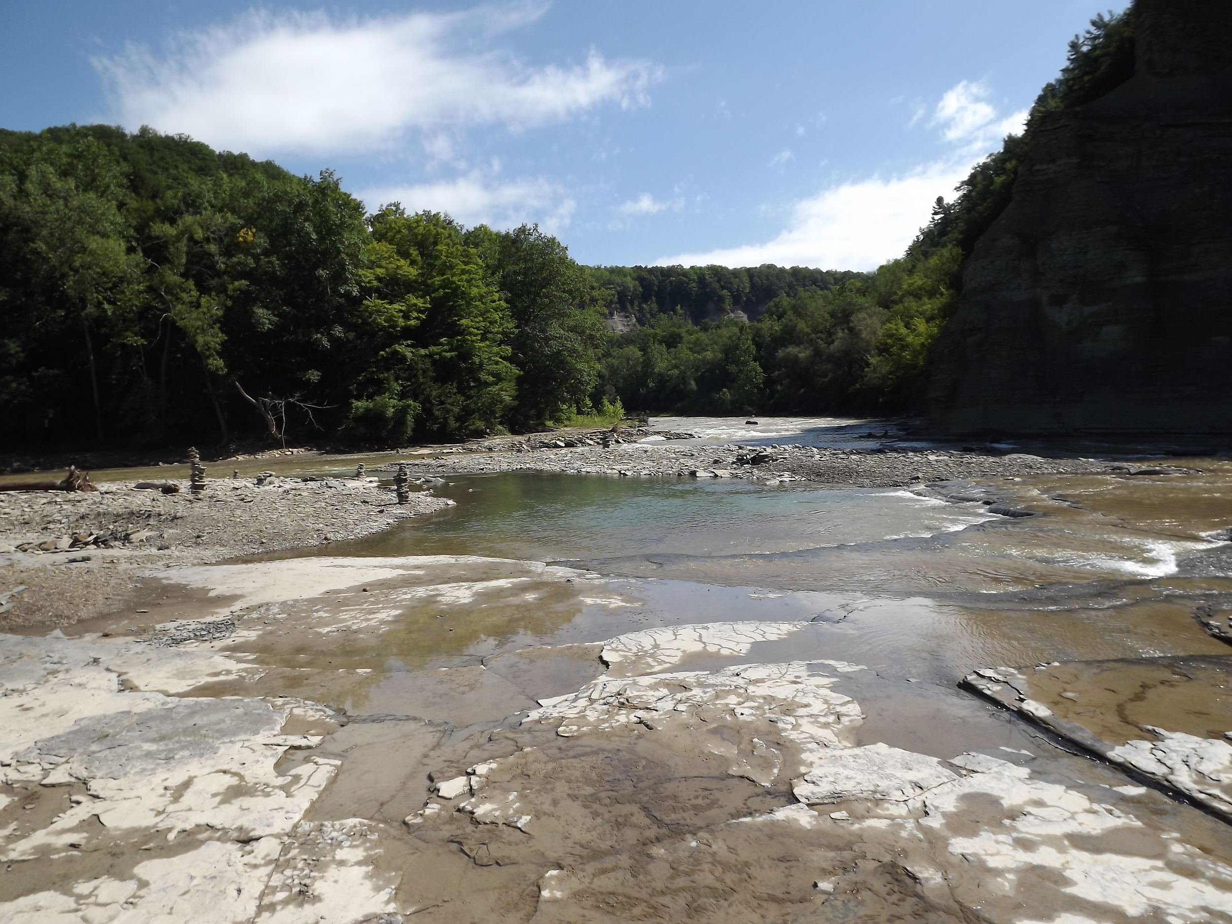 Confluence -  The confluence of the smaller South Branch and larger Main Branch of the Cattaraugus.  The day we were there, people had set up several rock cairns on a small island above the rapids.