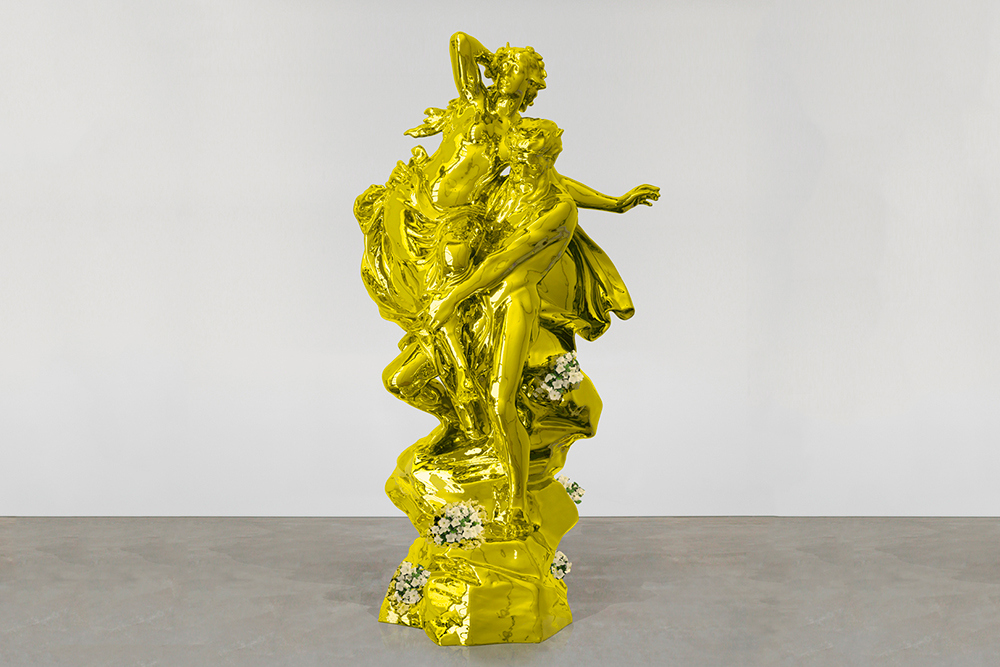 On September 25th Keff Koons' 11ft golden statue, Pluto and Proserpina (2010), will be placed opposite of Michaelangelo's statue of David in Florence.