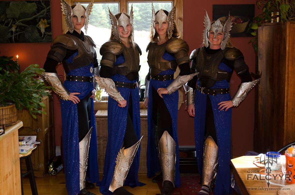 left to right: Myself, Kaylee Clark, Lydia Spencer, and Elisha Harvey wearing our costumes for the first time. Photo taken by Unicovia Pictures.