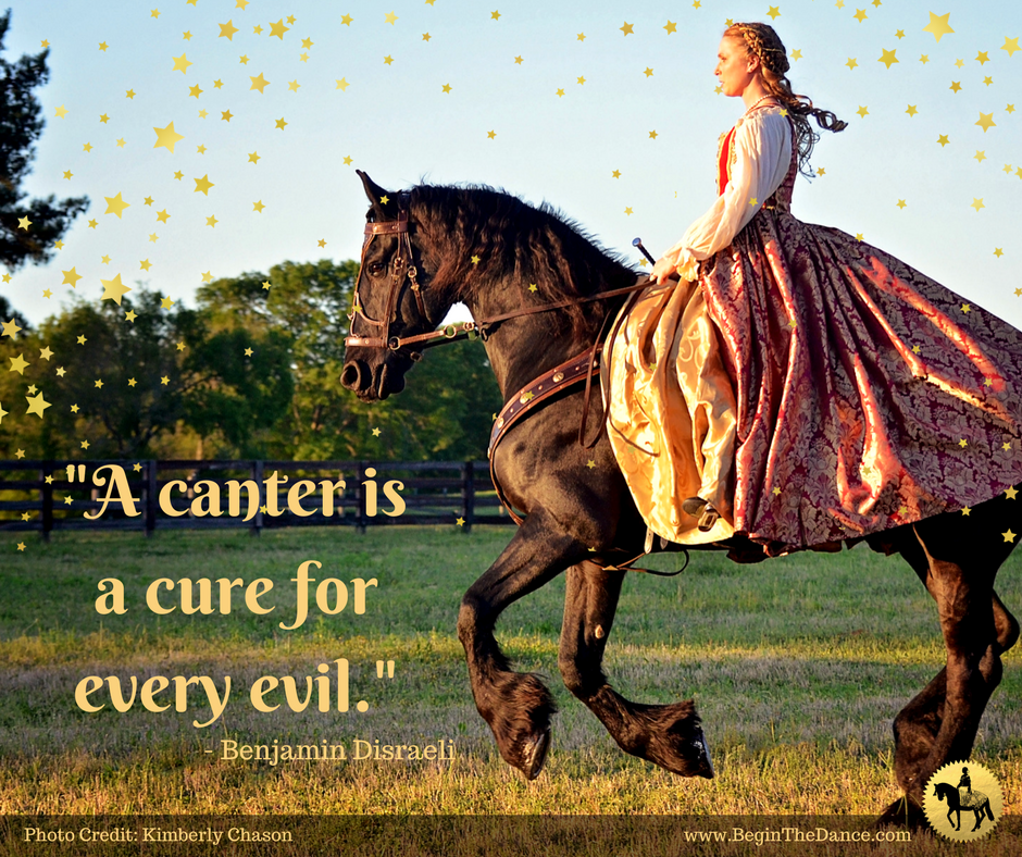 A canter is a cure for every evil quote horse equine Benjamin Disraeli.png