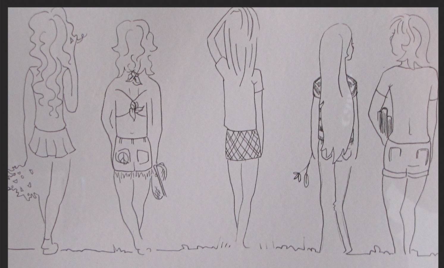 """""""WEST GATE GIRLS""""    A drawing by my artist daughter Hannah several years ago, from all the stories she's heard about THE WEST GATE GIRLS., Diane in cheering uniform, Me in halter top, Marci, and our dear friends, Lynne of the beautiful flowing hair and our beloved friend Vicki, who we lost to colon cancer in 2009.  *LostTraderArt""""on Facebook"""