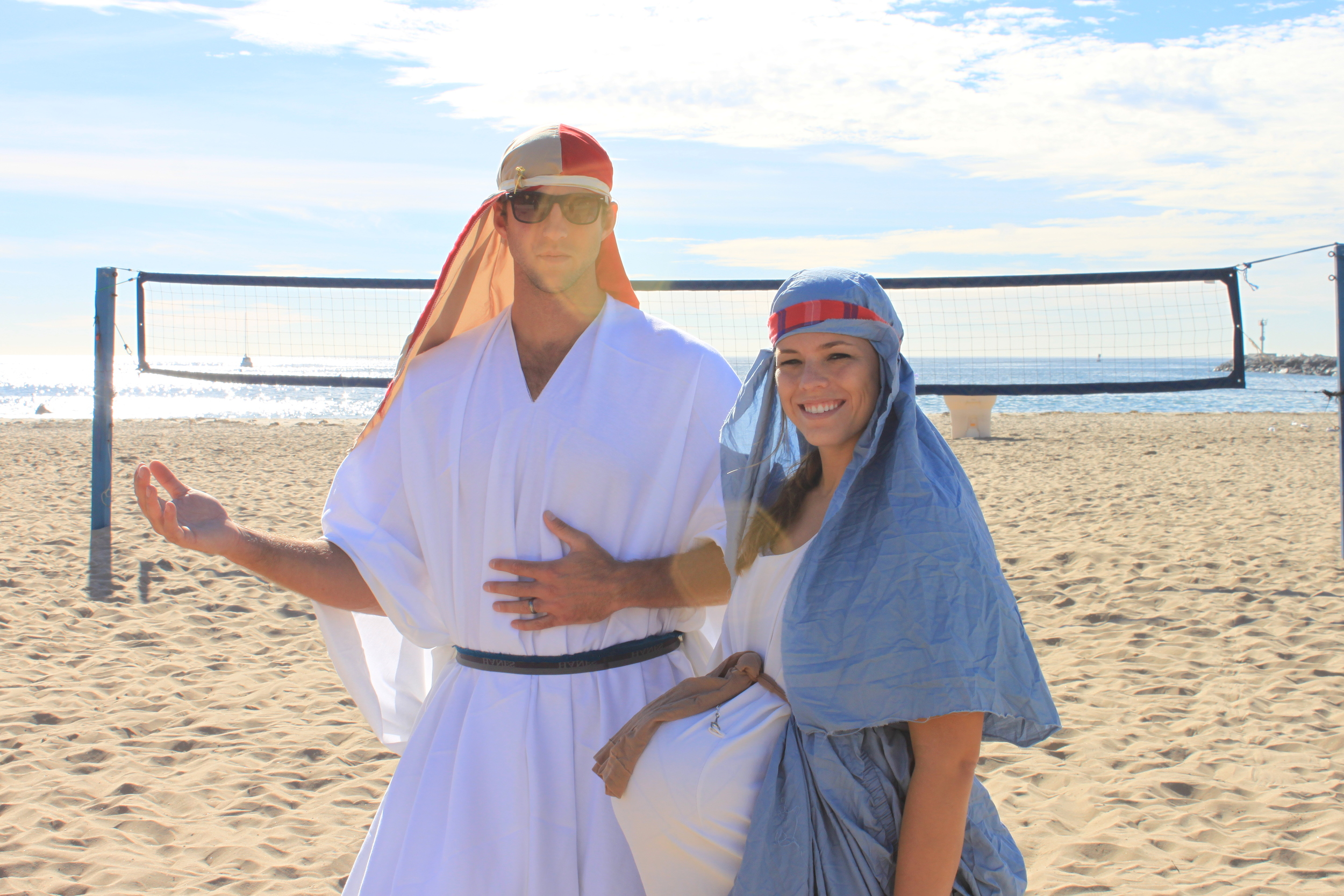 One of the reasons I truly love my job is because I get to make Fellowship of Christian Athletes Volleyball the best place to work. Recently, this has included a staff day in which we piled in the car, headed to Goodwill, and had a beach volleyball tournament dressed as our favorite duos. Here Mary (Christen Clements) and Joseph (Graeme Cowgill) pose for a pre-tournament photo shoot.