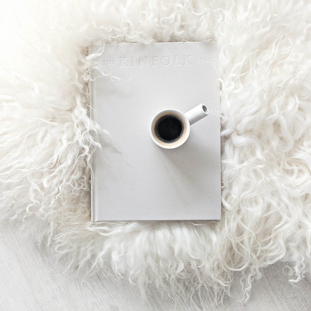 Sheepskin Rug from   Milabert   and Ceramic Espresso Cup from   Serax Belgium  .