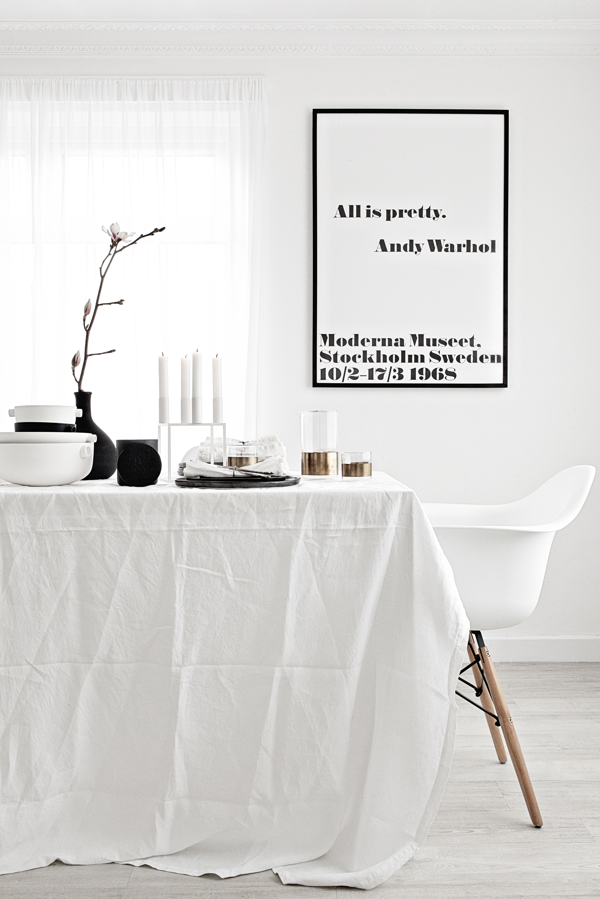 All is Pretty.   Andy Warhol Poster Print & Frame from   King & McGaw  |    Kubus by Lassen   Candle Holder from     Made Modern