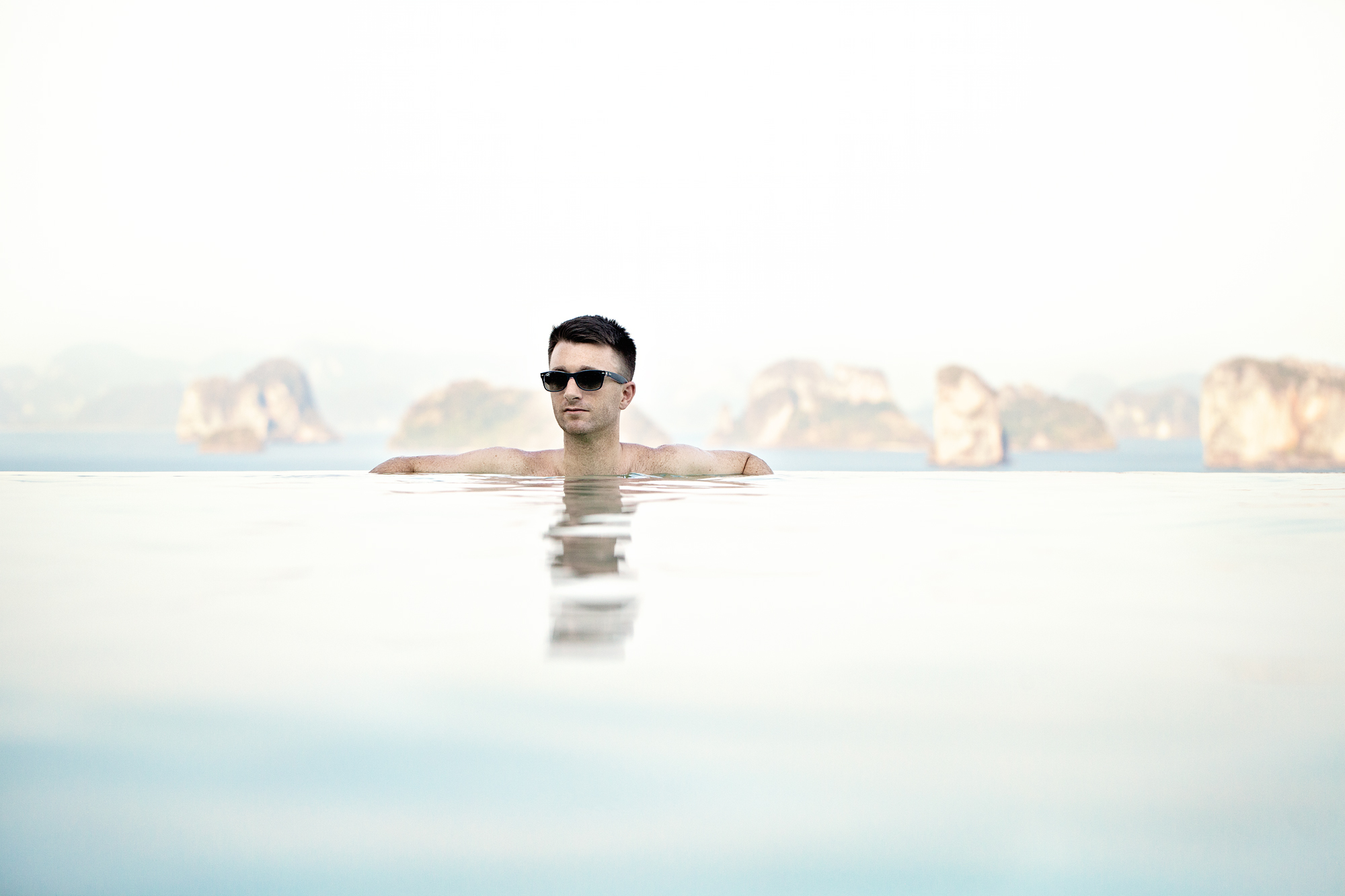 Relaxing in the infinity pool at the Hilltop Reserve, Six Senses, Yao Noi