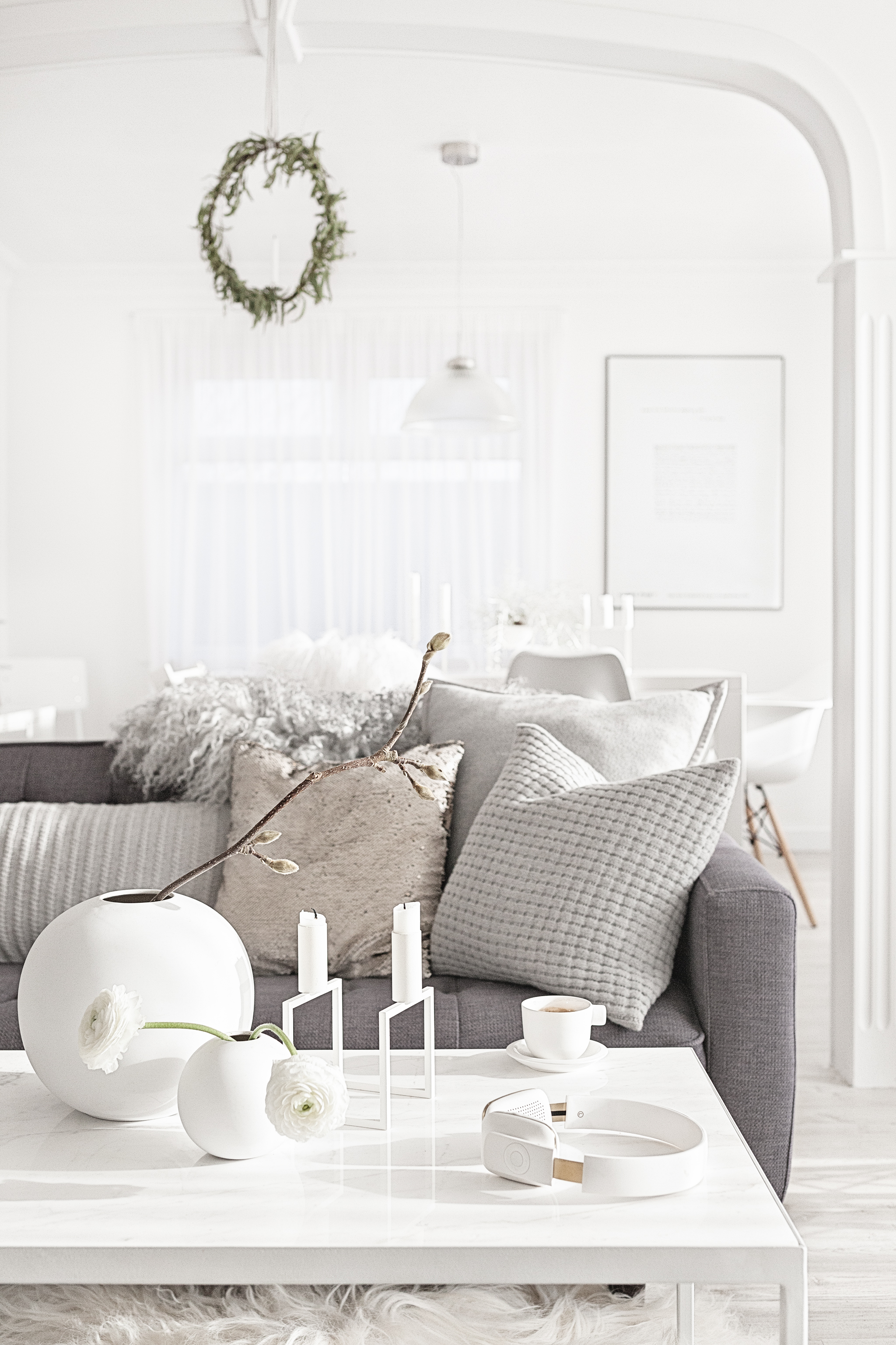 White Vases from   Cooee     White Kubus Line from   By Lassen     Headphones from   Kreafunk     Cushions from The White Company   Pelssau Sheepskin Rug from   Milabert