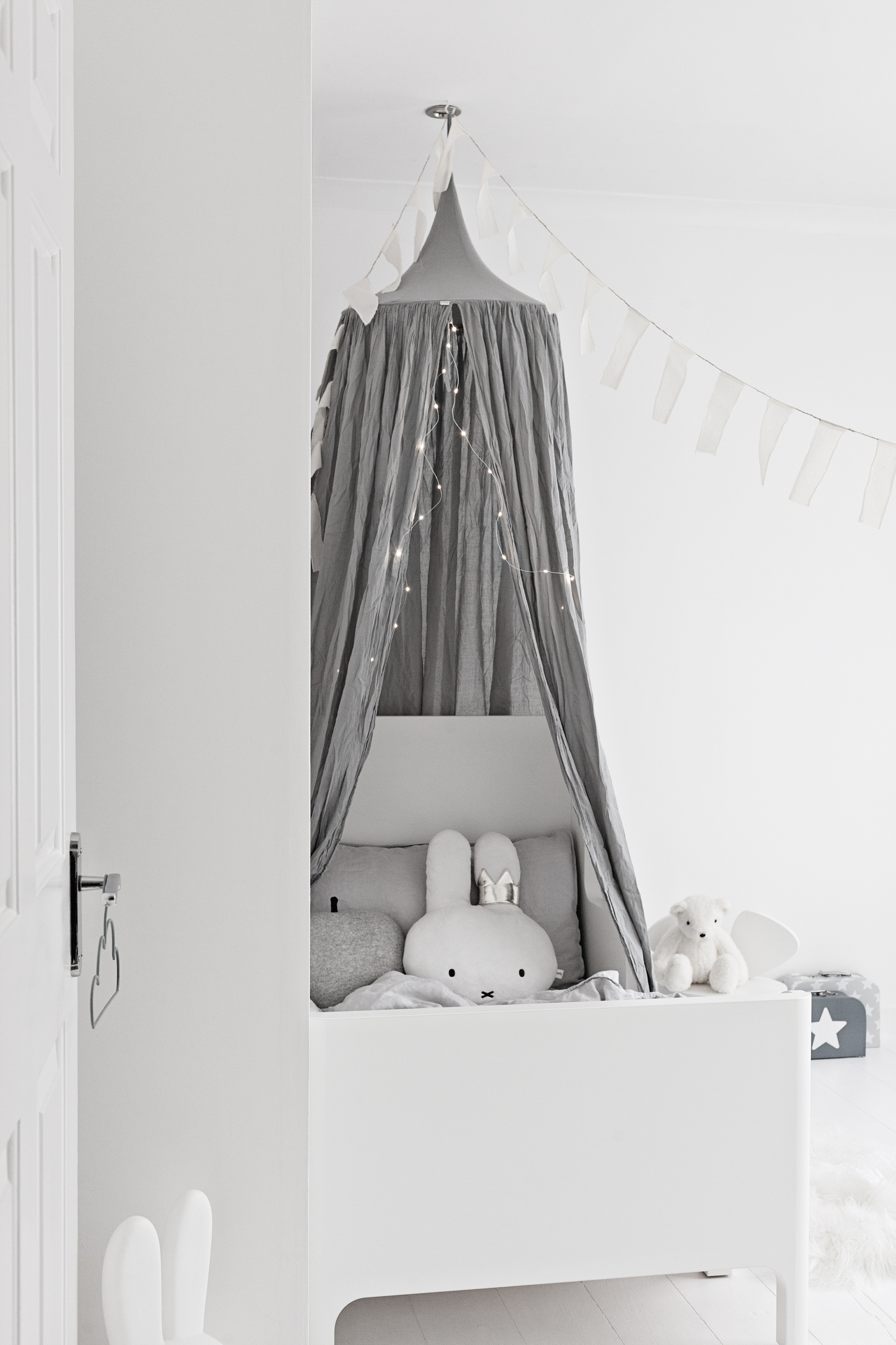 Grey Linen Canopy from Numero 74 | Grey Bed Linens from H&M | White Bear from The White Company | White Bed from Ikea | Bunting from Sukha Amsterdam