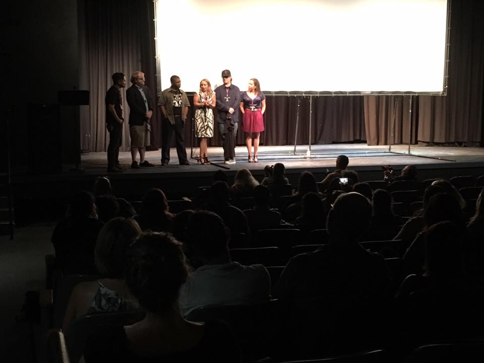 "Director Tyler Nisbet (2nd from left) participating in Q and A with the audience at the screening of ""Go Tell It on the Molehill"" at the 2017 Oceanside International Film Festival."