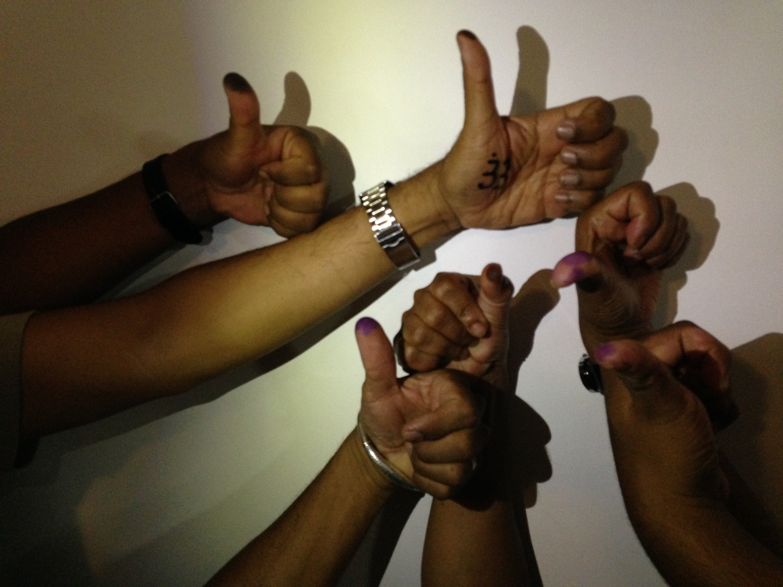 Our guests proudly displayed their 'inked' thumbs proving they had voted for hopefully a new future.