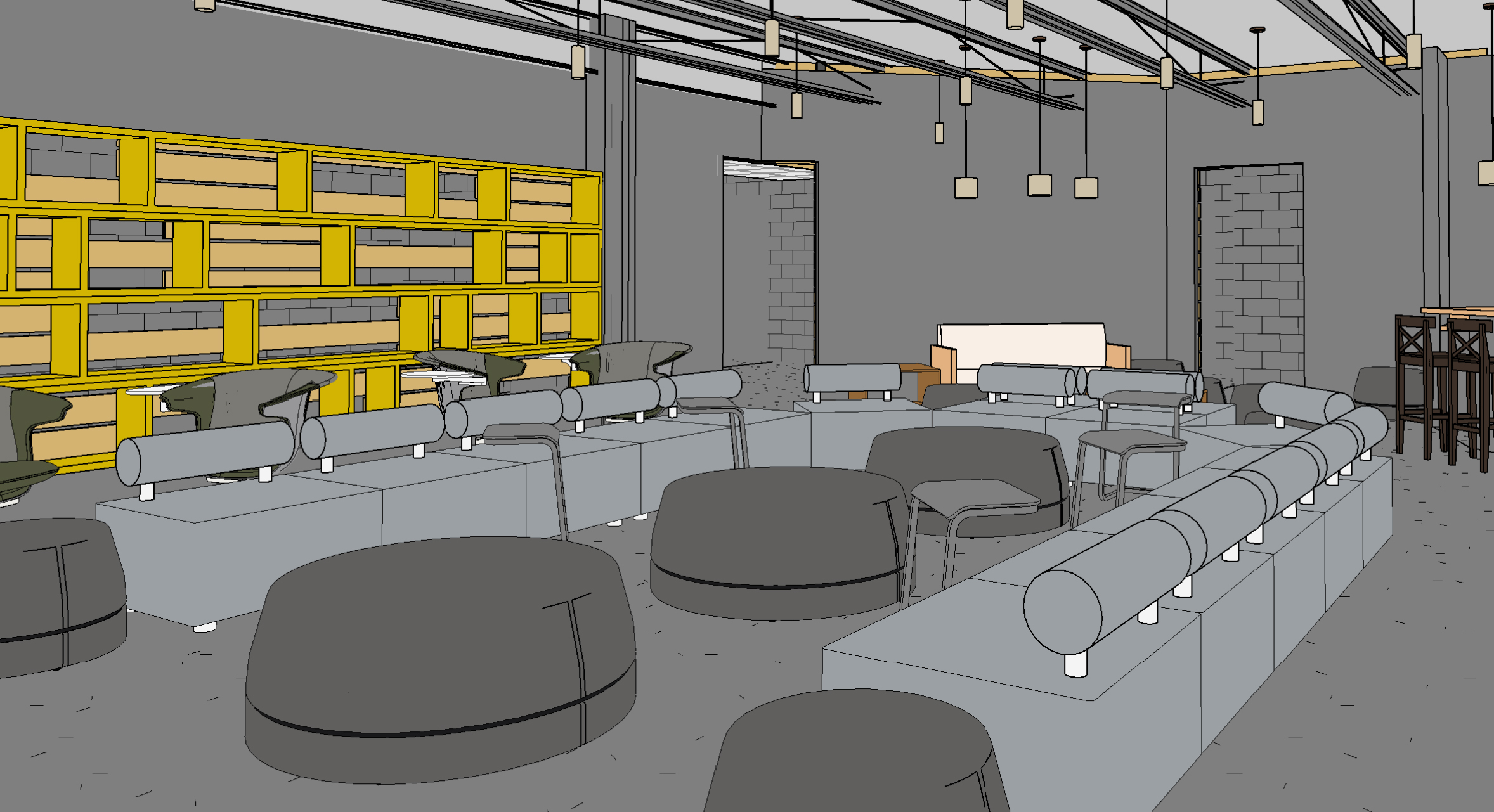 Architect rendering of final Student Ministry area.
