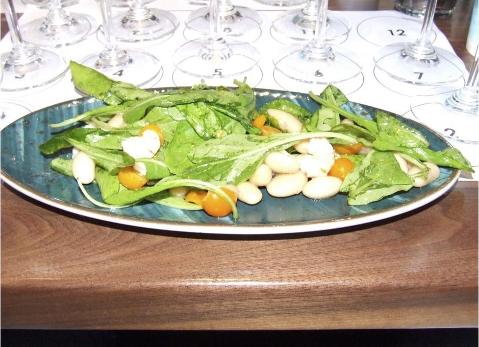 Seafood Salad - rock shrimp, cuttle fish, italian butter beans, celery, cherry tomato, walu walu onion, lemon vinaigrette, chili oil