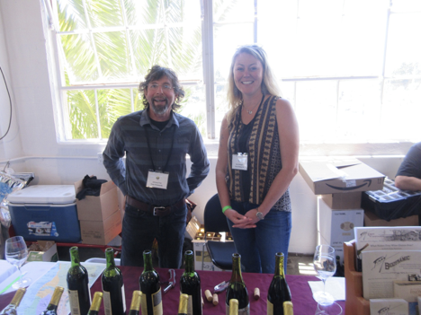 Johnny Frei and Ann Wright with thebiodynamic wines of Frey Vineyards. The wines are made with no sulfur additions, are gluten free and vegan.