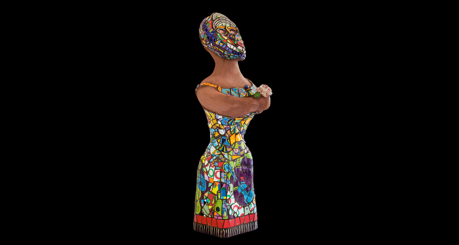 Mosaic Sculpture: Une Demoiselle de Californie.