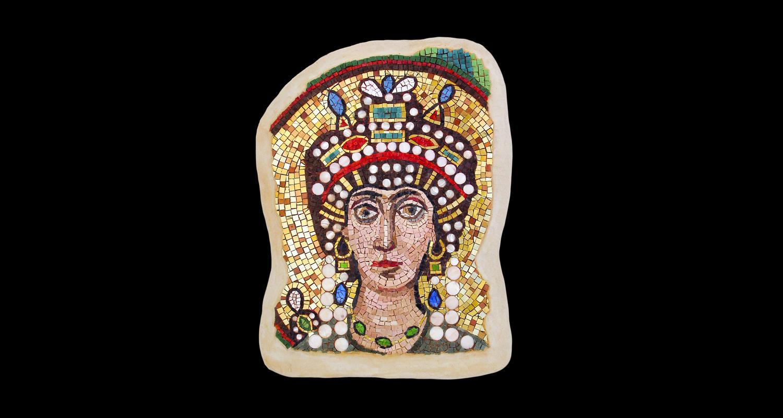 """Empress Theodora. 21x16"""". Italian glass smalti, 24 karat gold tesserae, mother of pearl."""