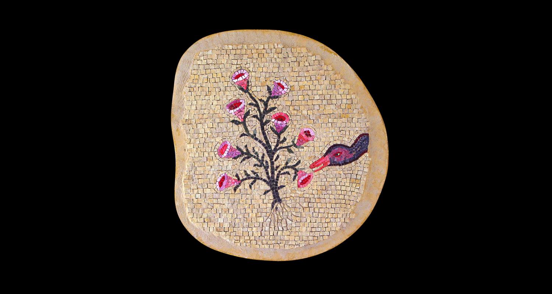 "Flower in a Crannied Wall. 20x20"". Italian glass smalti, marble, dichroic glass."