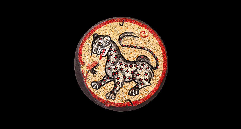 "Leopard. 24"" diameter. Italian glass smalti, dichroic glass."