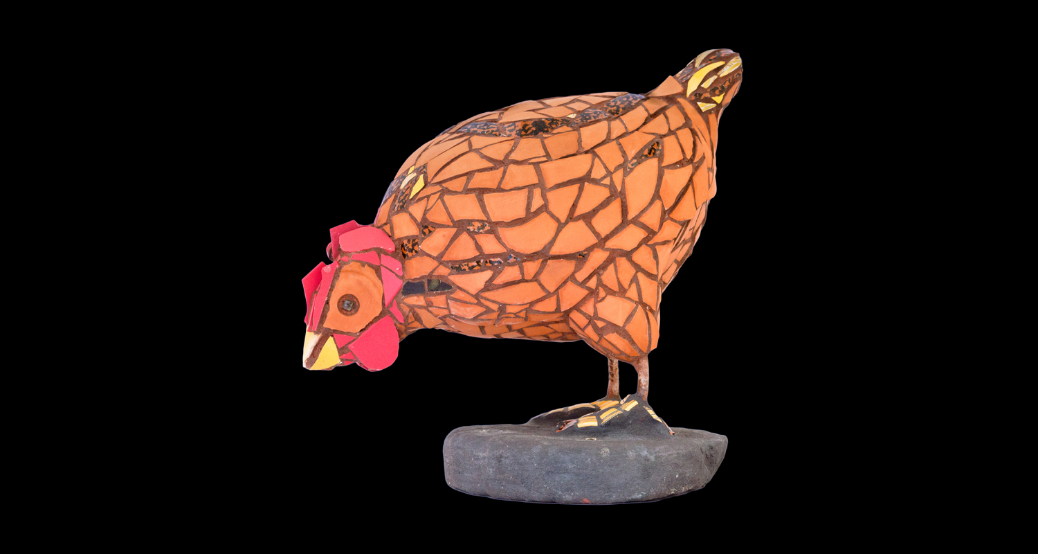 "Hen Sculpture. 14x18"". Terracotta, ceramic."