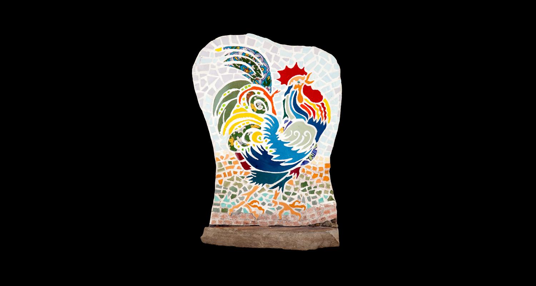 """Rooster. 12x17"""" Ceramic, sandstone base."""