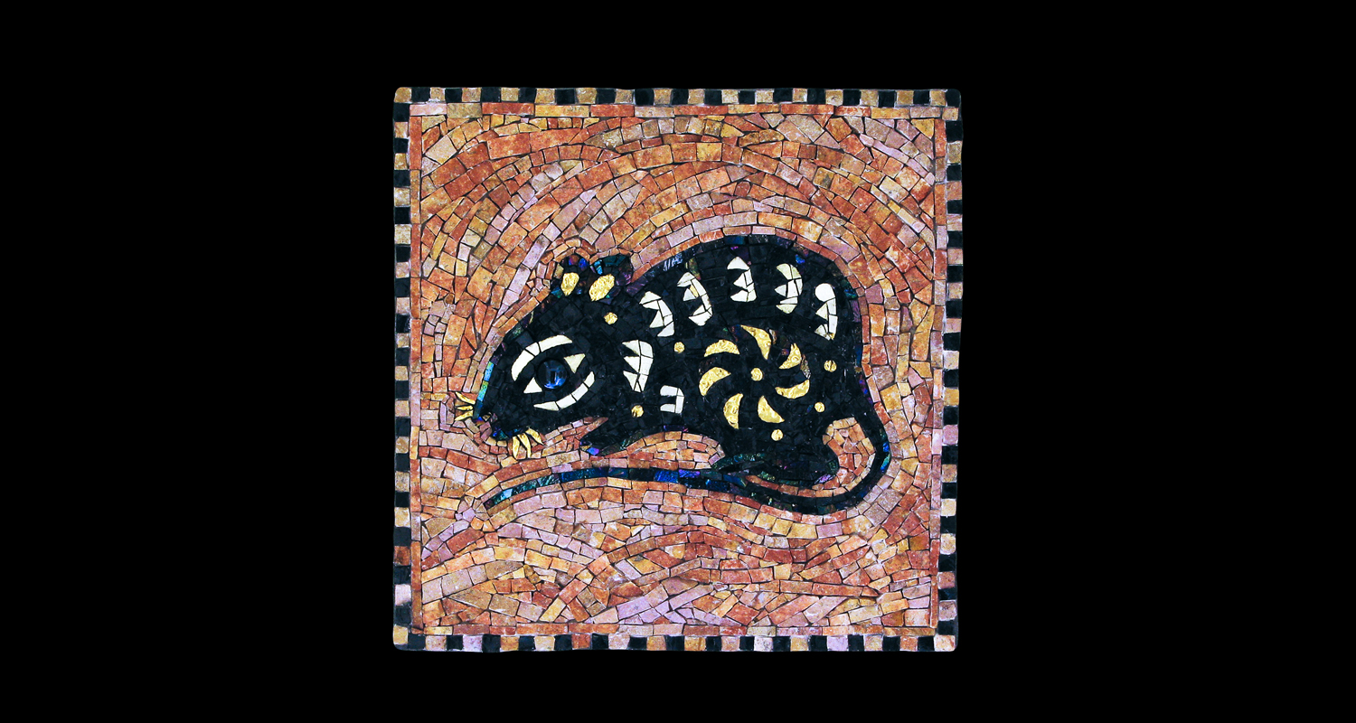 "Year Of The Rat. 13x13"" Italian glass smalti, 24 karat gold tesserae."