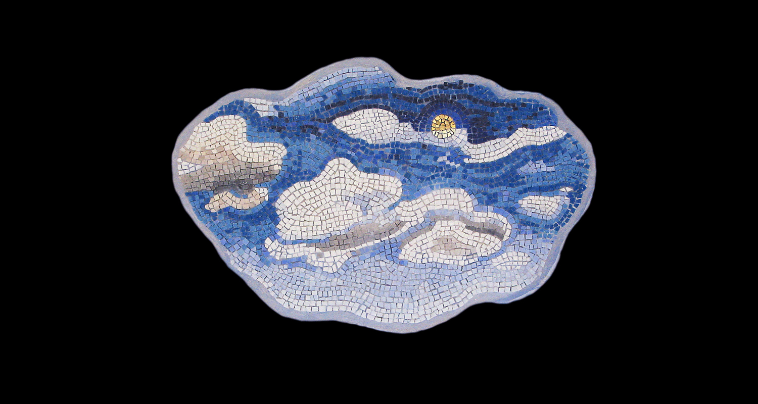 "Behind Every Cloud. 12x19"". Italian glass smalti, 24 karat gold tesserae."