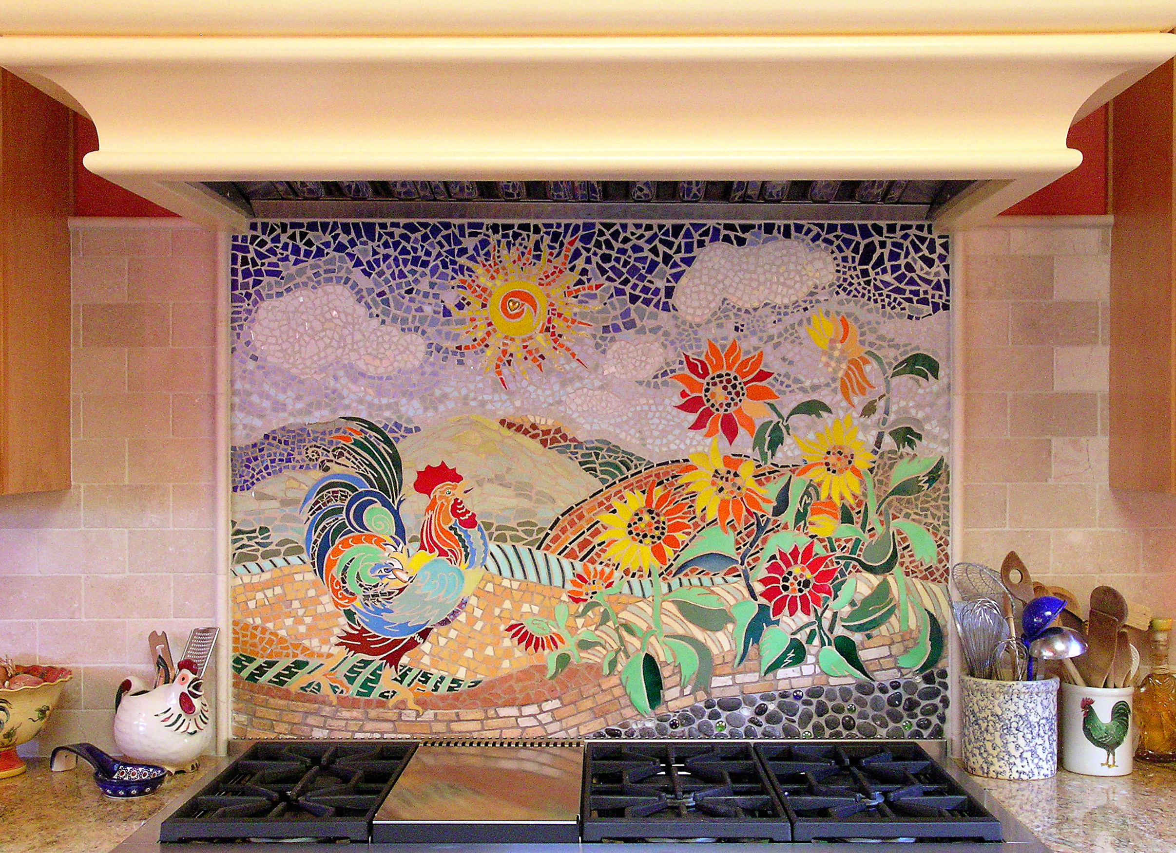 Custom Kitchen Mosaic Rooster Backsplash