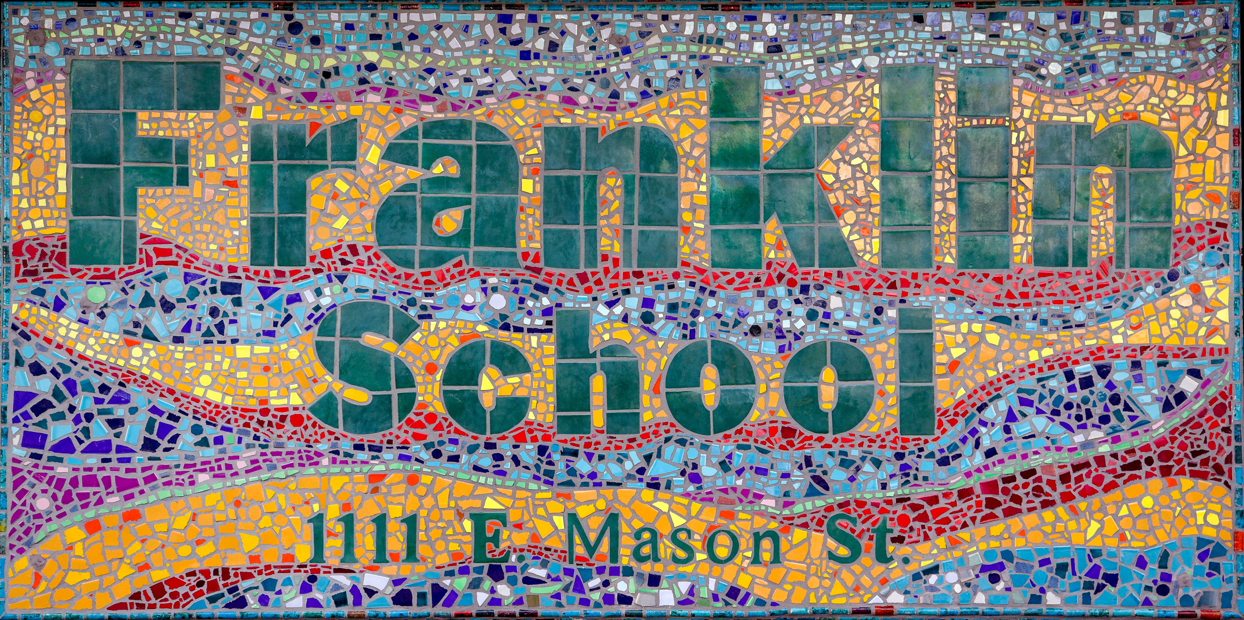 Franklin School Sign. 4x8' Glazed Tiles.