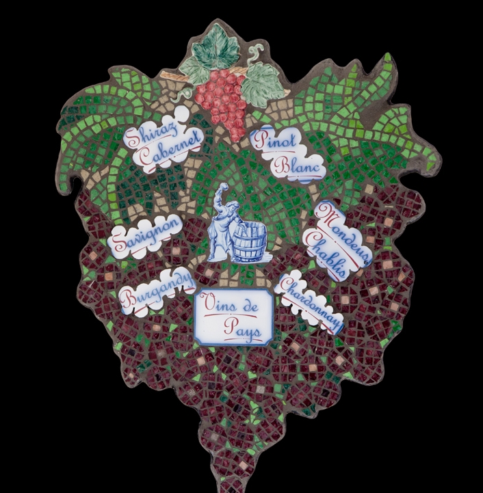 "Wine Cellar: 23x18"". Italian glass smalti, ceramic."